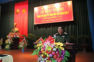 Trung tướng Dương Đức Hòa, Ủy viên Trung ương Đảng, Tư lệnh QK phát biểu tại Lễ khai trương.