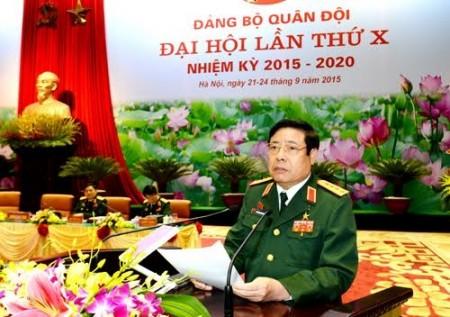 Đại tướng Phùng Quang Thanh kết luận phần thảo luận các văn kiện của Quân ủy Trung ương trình Đại hội.   Ảnh: Minh Trường