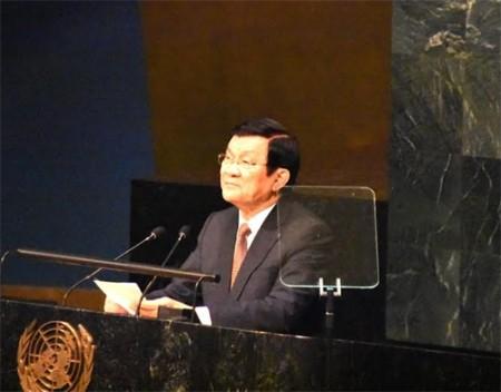 Chủ tịch nước Trương Tấn Sang phát biểu tại Hội nghị thượng đỉnh thông qua Chương trình nghị sự 2030 về Phát triển bền vững.
