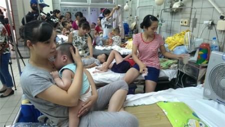 Bệnh nhi SXH gia tăng tại Khoa Nhi, Bệnh viện Bạch Mai.           Ảnh: AN AN
