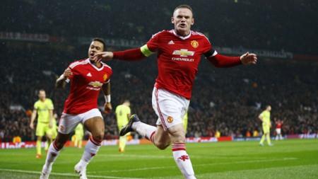 Niềm vui của Rooney sau khi ghi bàn cho M.U. Ảnh: Reuters