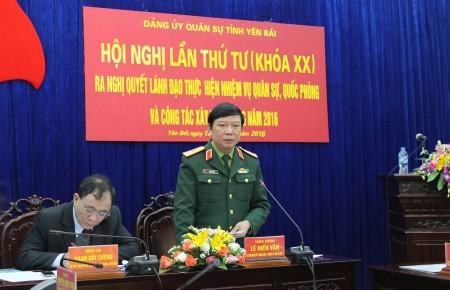 Thiếu tướng Lê Hiền Vân phát biểu chỉ đạo tại hội nghị.