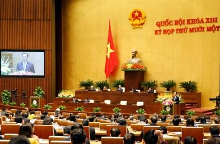 Thủ tướng Chính phủ Nguyễn Tấn Dũng trình bày Báo cáo công tác nhiệm kỳ 2011-2016 của Chính phủ, Thủ tướng Chính phủ.Ảnh: TTXVN