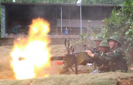 : Khẩu đội 12,7mm Trung đoàn 834, Bộ CHQS tỉnh Vĩnh Phúc thực hành bắn đạn thật.