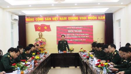 Đại tá Phan Đình Ân, Bí thư Đảng ủy, Chính ủy Cục Kỹ thuật chủ trì hội nghị tổng kết CTĐ,CTCT Cục Kỹ thuật năm 2016.