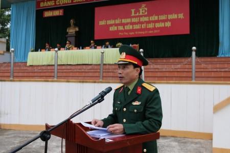 Đại tá Trần Minh Phong, phát biểu chỉ đạo tại buổi lễ.