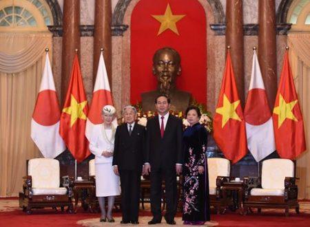 Chủ tịch nước Trần Đại Quang và Phu nhân tiếp Nhà vua và Hoàng hậu Nhật Bản tại Phủ Chủ tịch. Ảnh:Trọng Hải.