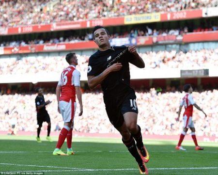 Coutinho (ảnh) và các đồng đội có chiến thắng kịch tính 4-3 ngay trên sân của Arsenal ở vòng đấu mở màn Premier League mùa giải này. Ảnh: Dailymail