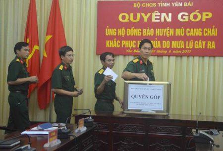 Bộ CHQS tỉnh Yên Bái tổ chức phát động quyên góp, ủng hộ đồng bào Mù Cang Chải khắc phục hậu quả do mưa lũ gây ra.